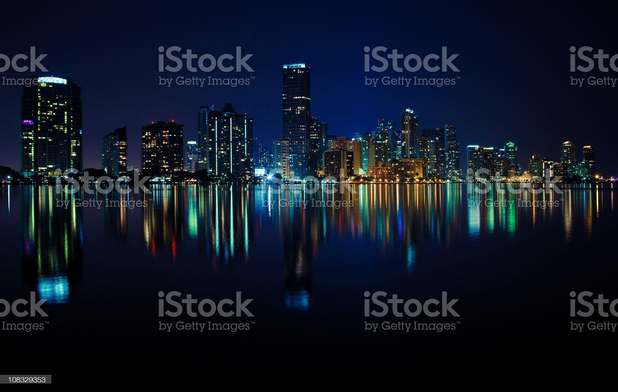 miami at night royalty-free stock photo