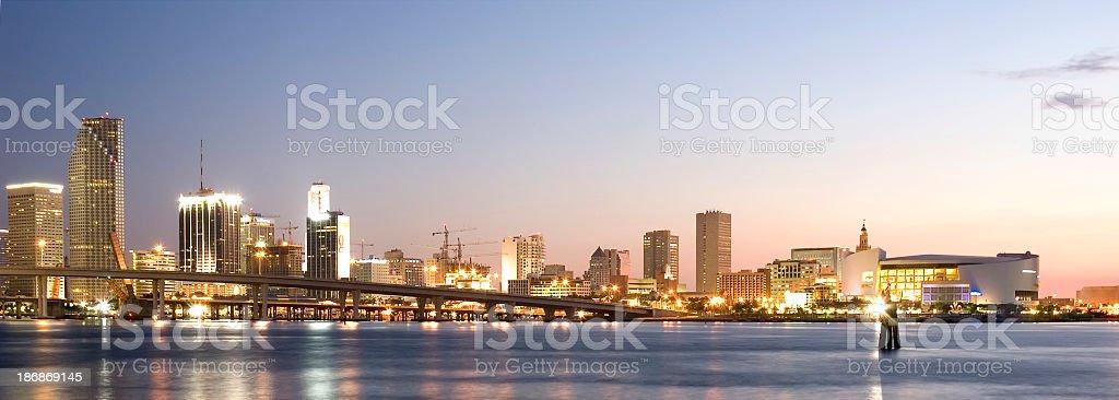 miami bay and downtown skyline stock photo