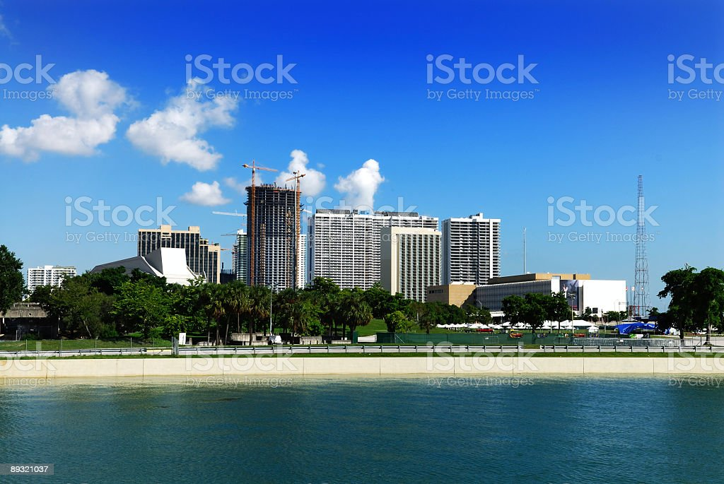 miami bay front canal stock photo