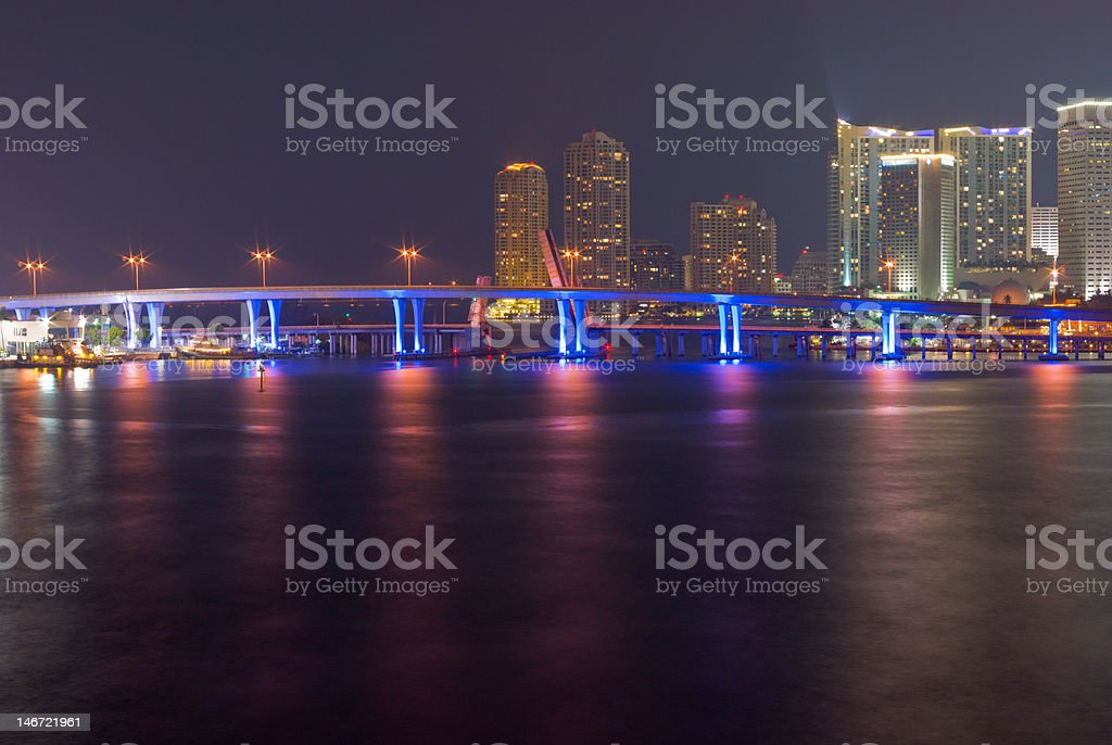 Miami Bayfront Skyline and Port at Night royalty-free stock photo