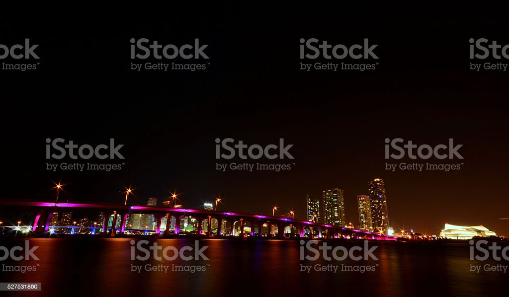 Miami Bayfront Skyline and Port at Night stock photo