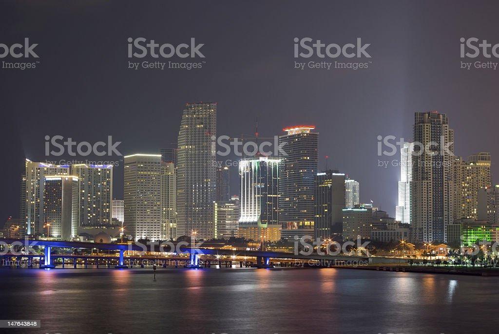 Miami Bayfront Skyline at Night royalty-free stock photo