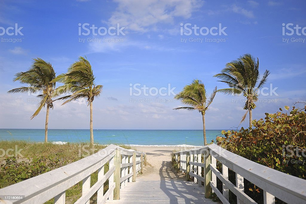 miami beach access stock photo