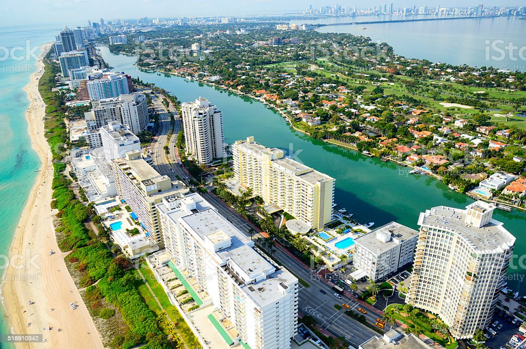 Miami Beach aerial view stock photo
