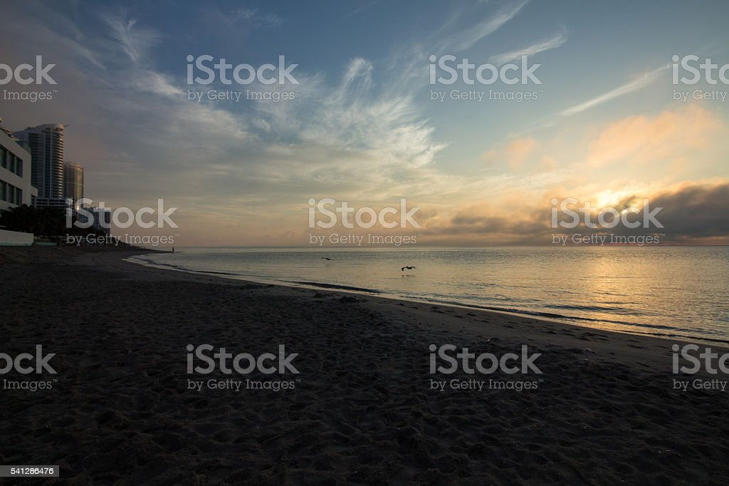miami beach al amanecer stock photo