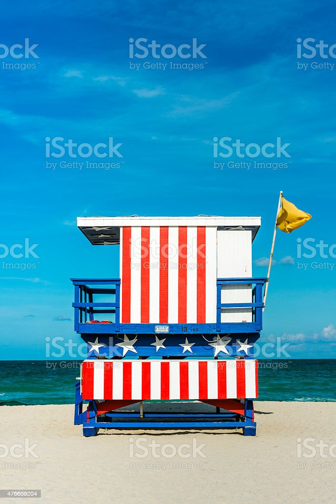 Miami Beach American Themed Lifeguard Stand Travel Desintations USA stock photo