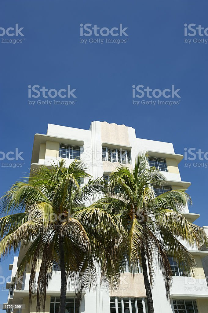 Miami Beach Art Deco Building Palm Trees and Blue Sky royalty-free stock photo