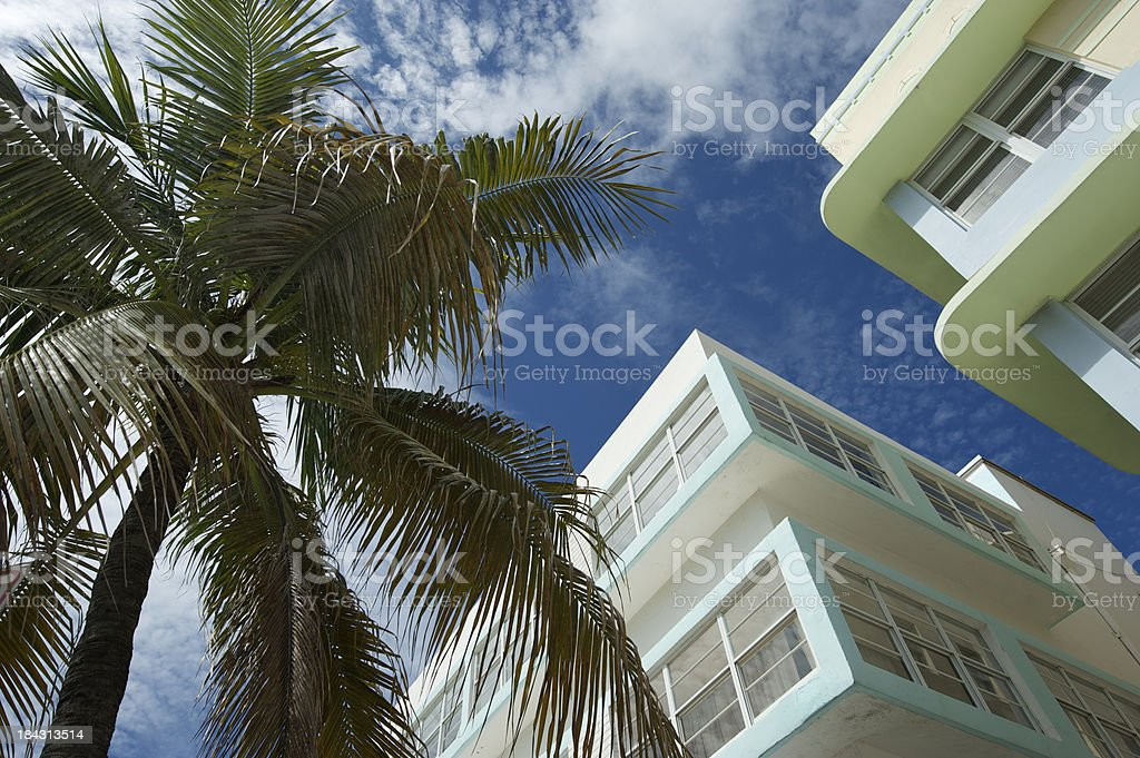 Miami Beach Art Deco Buildings in Pastel Blue and Green royalty-free stock photo