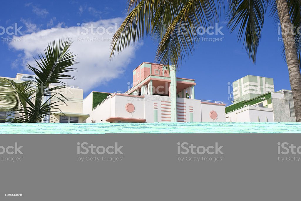 Miami Beach, Art Deco style on Ocean Drive royalty-free stock photo