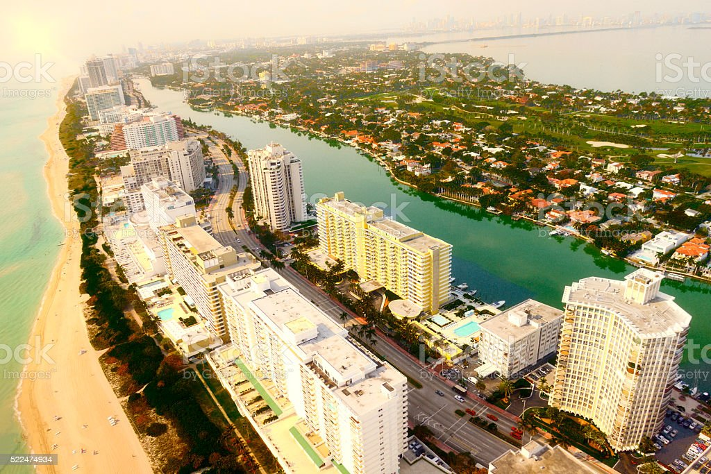 Miami Beach at sunset. Aerial View. stock photo