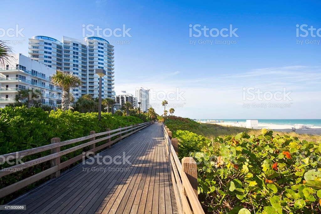 Miami Beach Boardwalk stock photo