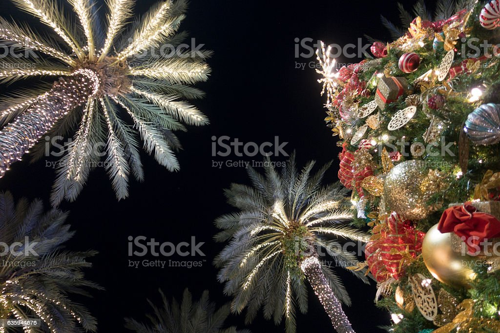 Miami Beach Christmas Tree Decorations With Palm Trees Lincoln Road stock photo