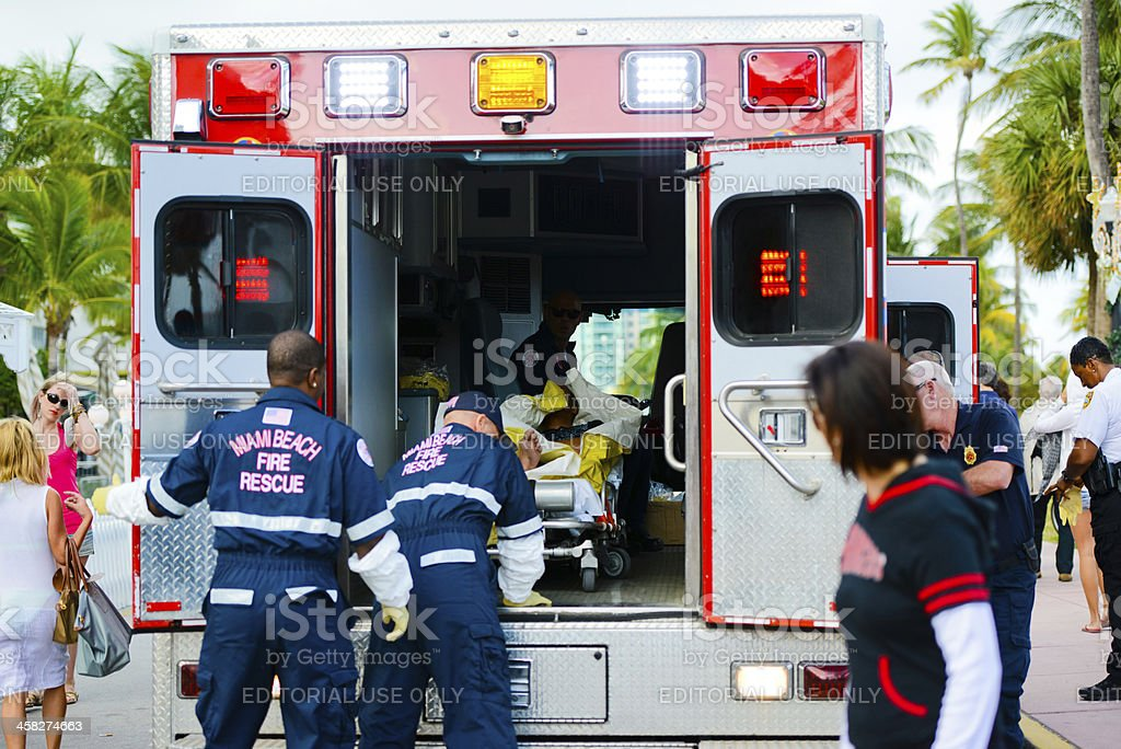 Miami Beach Fire Rescue Team arrived at Ocean Drive to help cyclist...