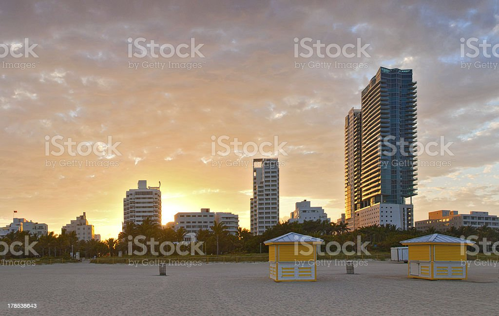 Miami Beach Florida, beautiful summer sunset stock photo