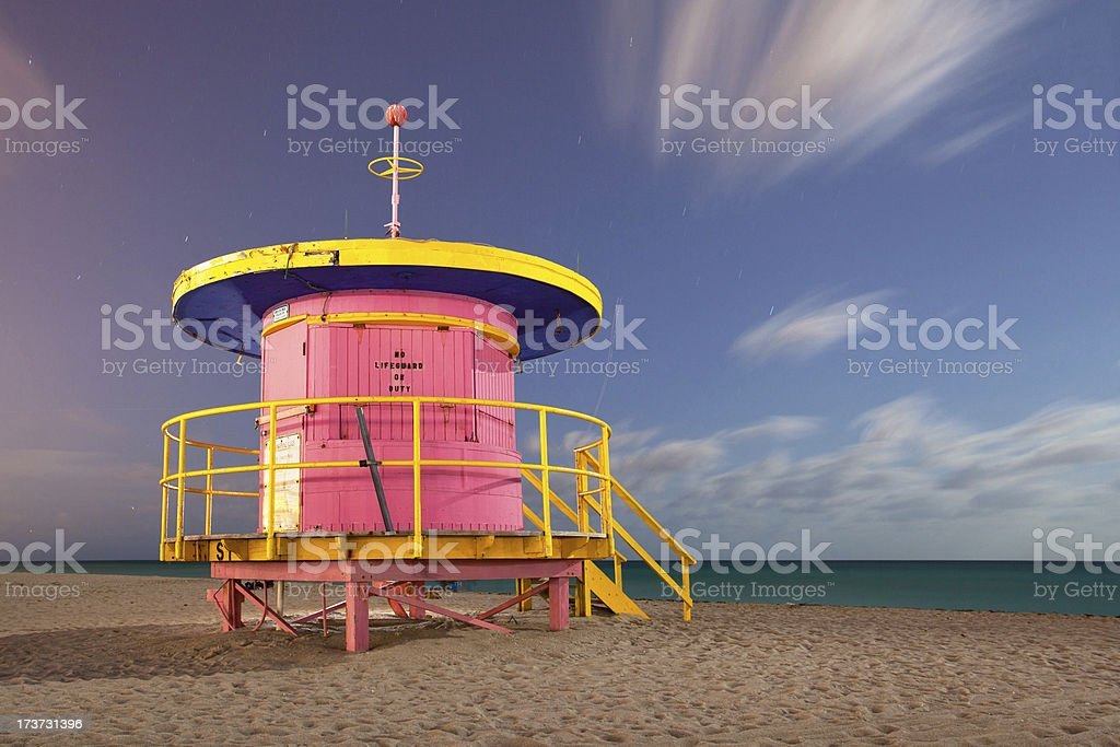Miami Beach Florida, colorful lifeguard house at night royalty-free stock photo