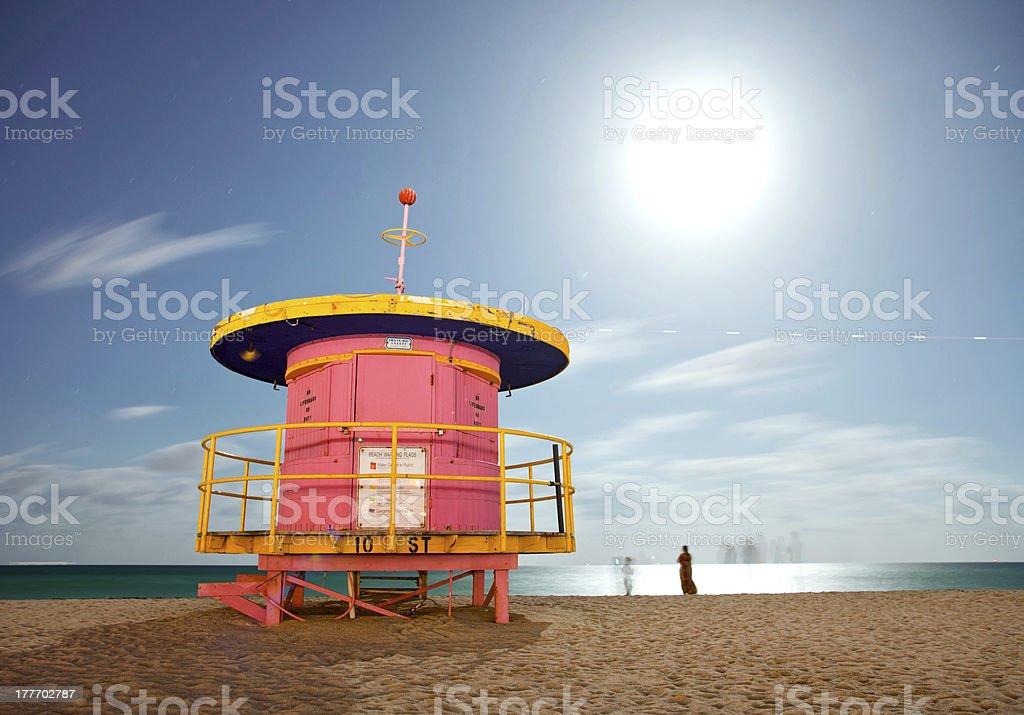 Miami Beach Florida, colorful lifeguard house at night stock photo