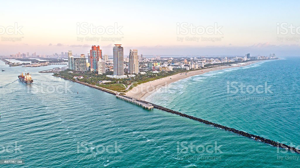 Miami Beach Florida Government Cut and Skyscrapers Aerial stock photo