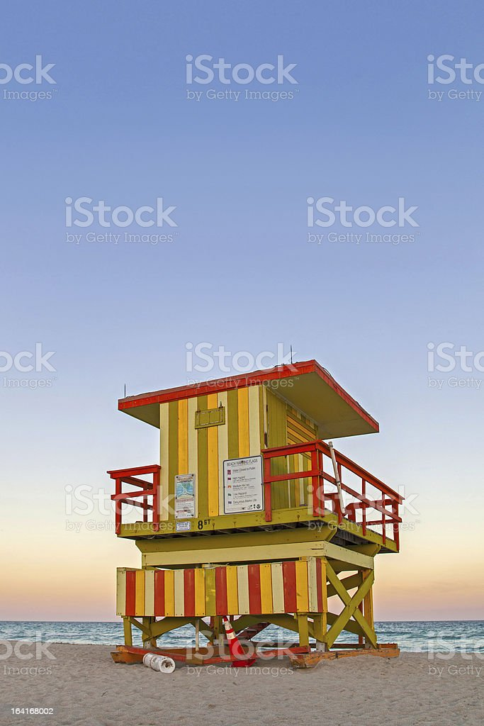 Miami Beach Florida Lifeguard house at sunset stock photo