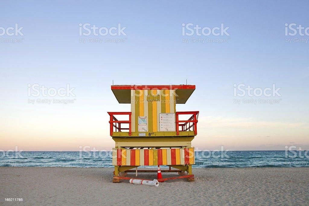 Miami Beach Florida Lifeguard house at sunset royalty-free stock photo