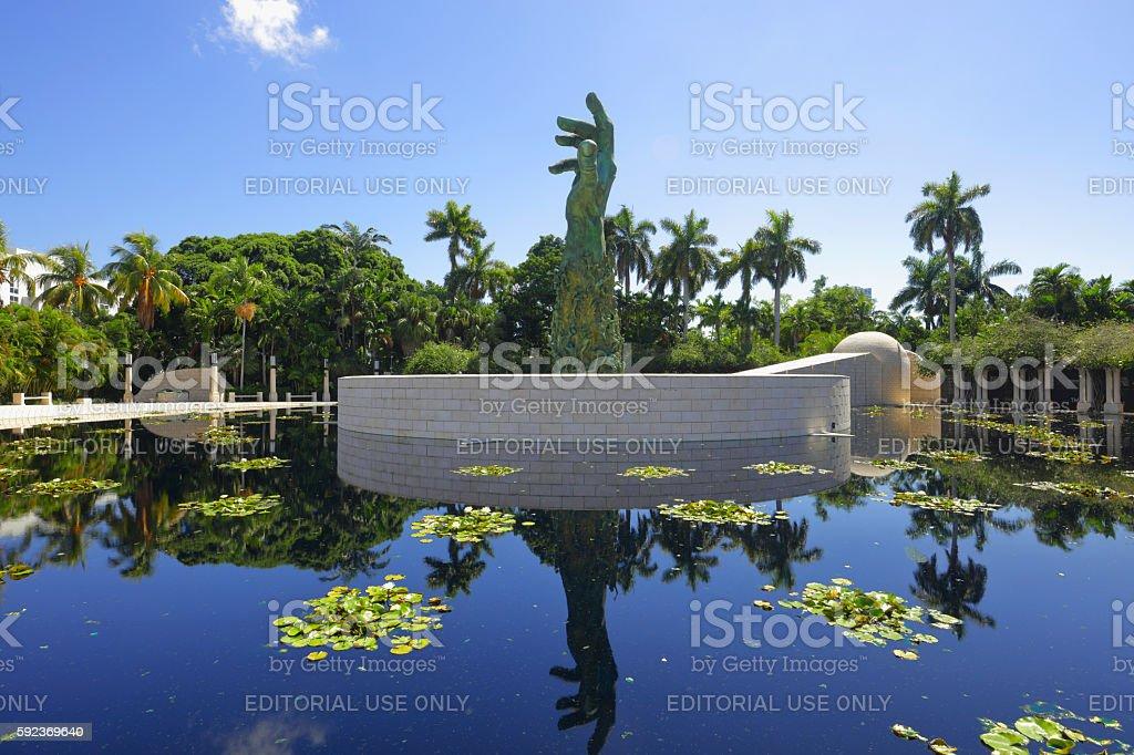 Miami Beach Holocaust Memorial and pond stock photo