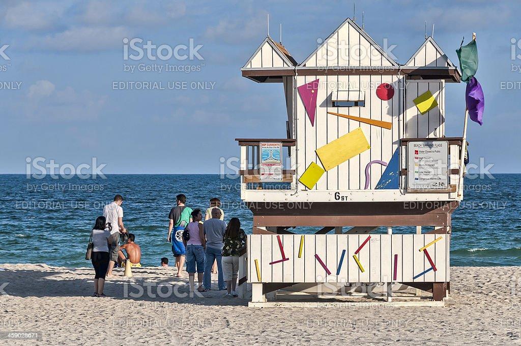 Miami Beach Life Guard Tower stock photo
