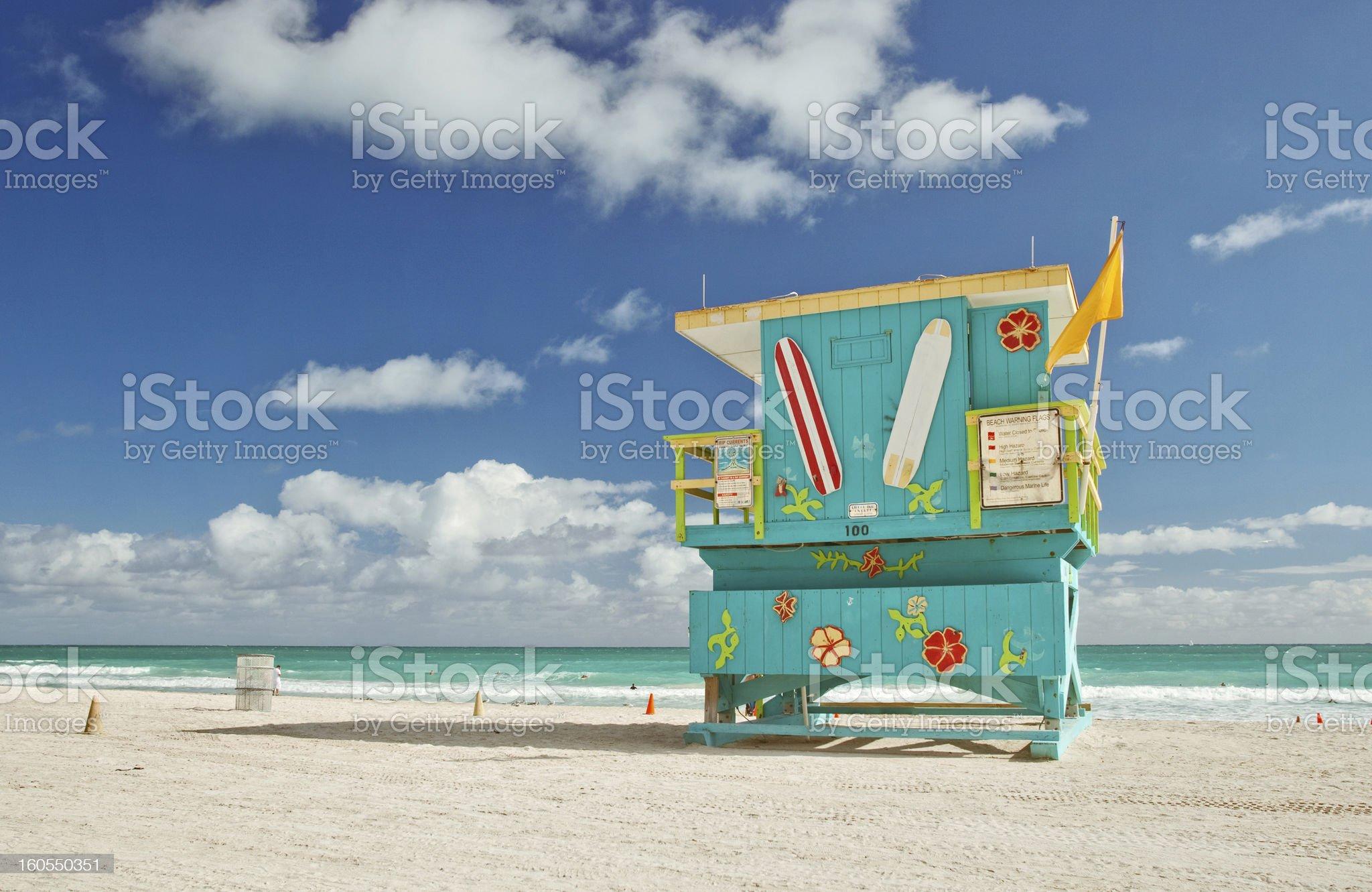 Miami Beach lifeguard house royalty-free stock photo