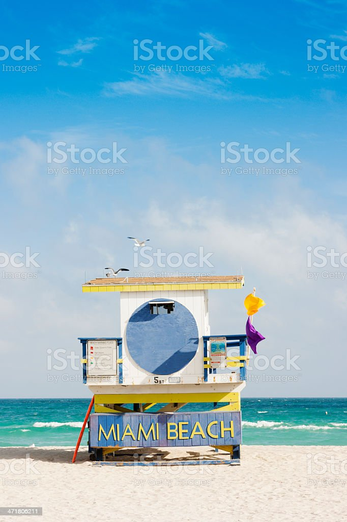 Miami Beach Lifeguard Station on White Sand by Aqua Ocean royalty-free stock photo