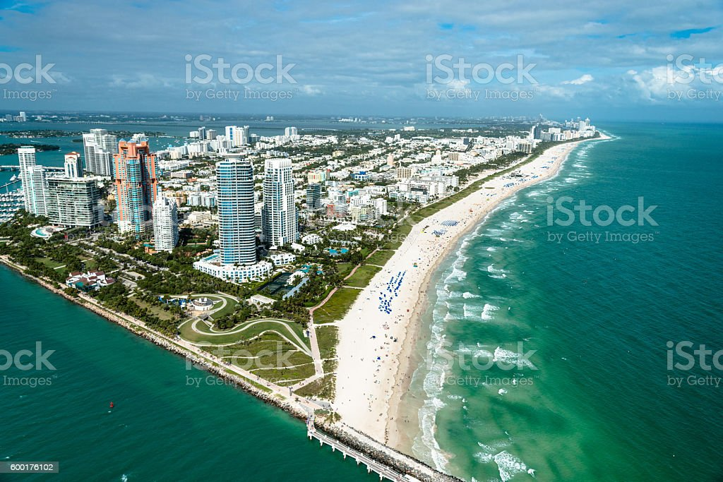 Miami beach marina and south beach shoreline stock photo