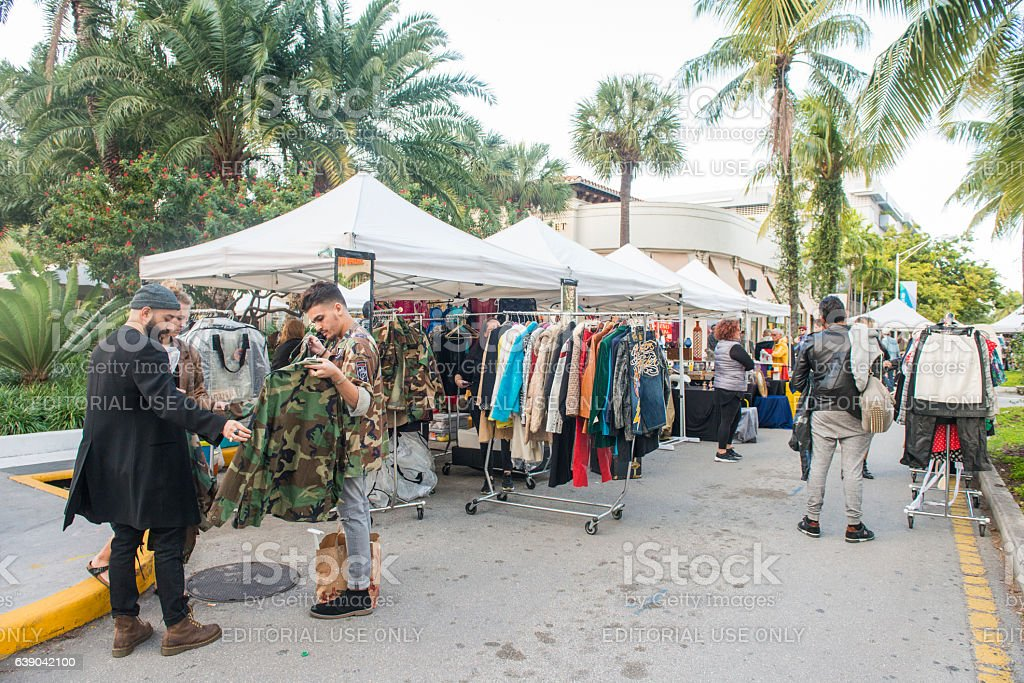 Miami Beach People Clothing Shopping From Small Business Market Outdoors stock photo