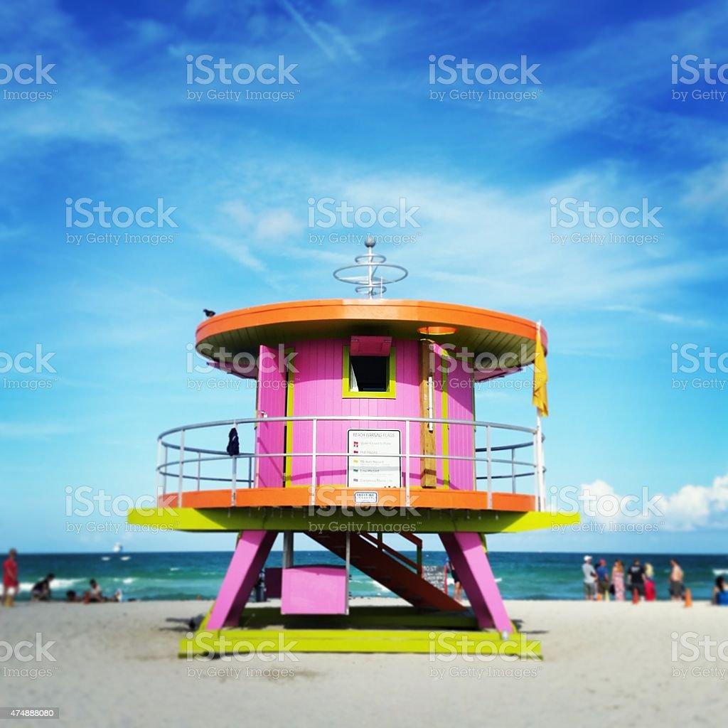 Miami Beach Pink Art Deco Lifeguard Stand Travel Desintations USA stock photo