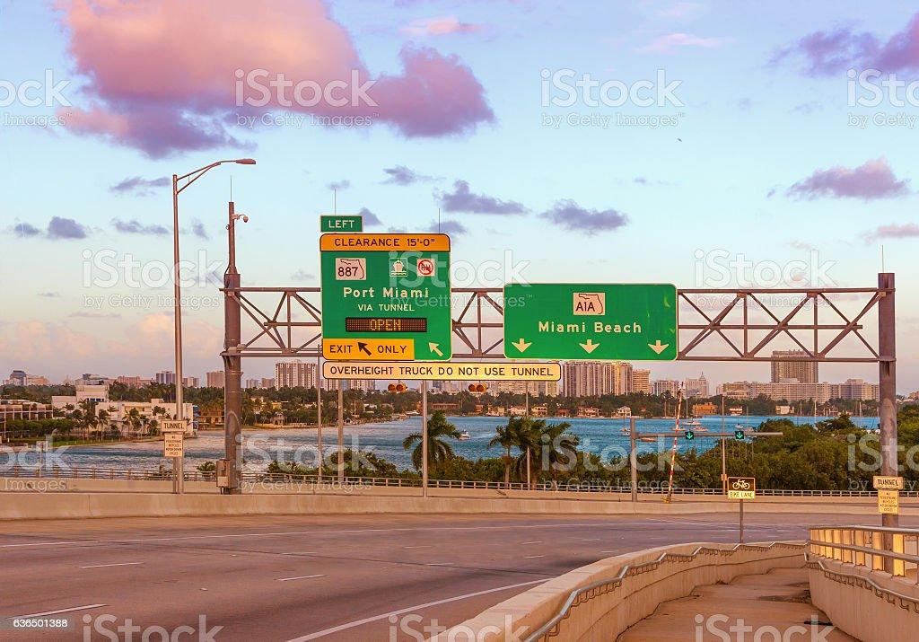 Miami Beach Road Sign stock photo