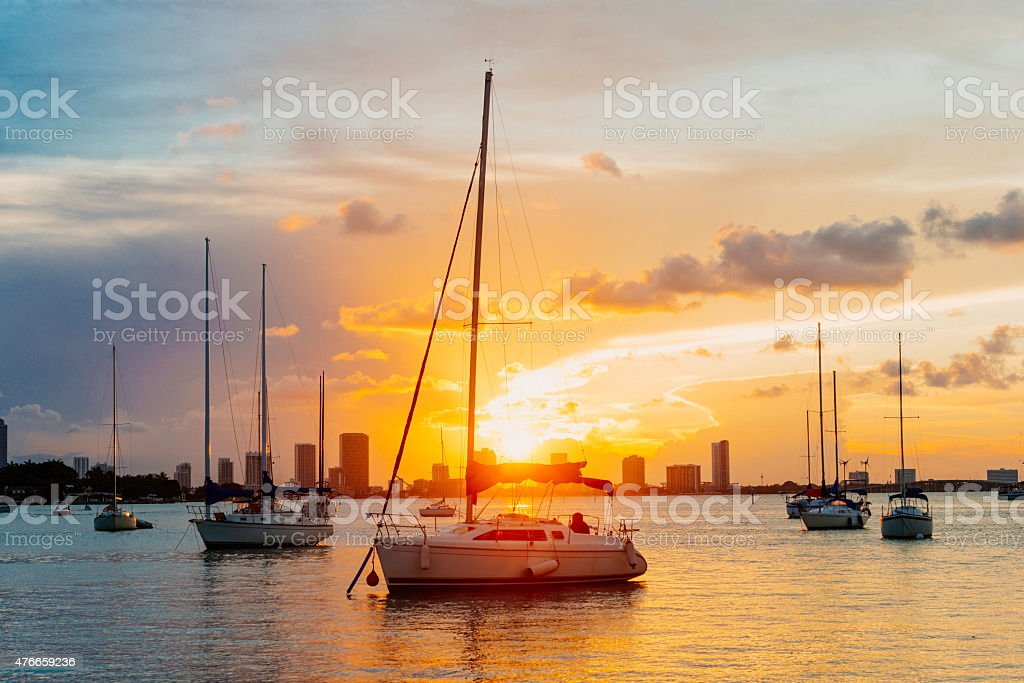 Miami Beach Sailboats in Biscayne Bay Tropical Sunset Travel Destination stock photo