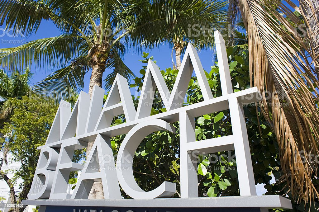 Miami Beach Sign in Florida USA stock photo