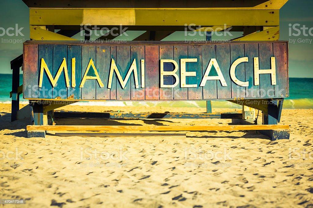 Miami Beach sign on wood background, Florida stock photo