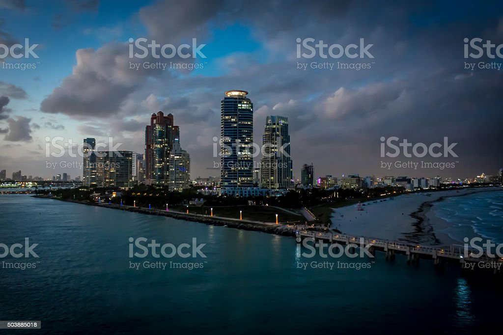 Miami Beach Skyline at Dusk stock photo