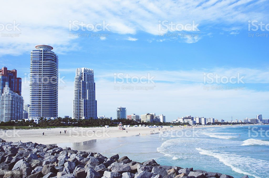 Miami Beach skyline view from South Point Pier stock photo