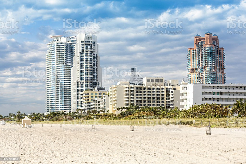 Miami beach with skyscrapers royalty-free stock photo