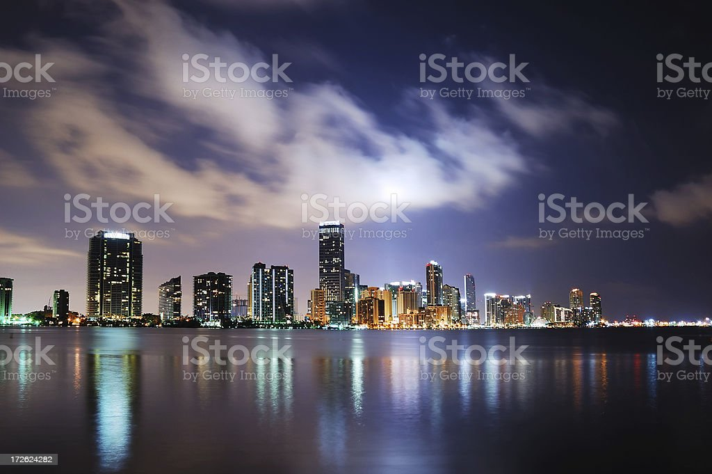 miami blue downtown skyline at night stock photo