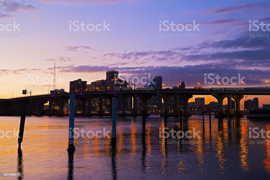 Miami city skyline with the bridge at sunset. stock photo