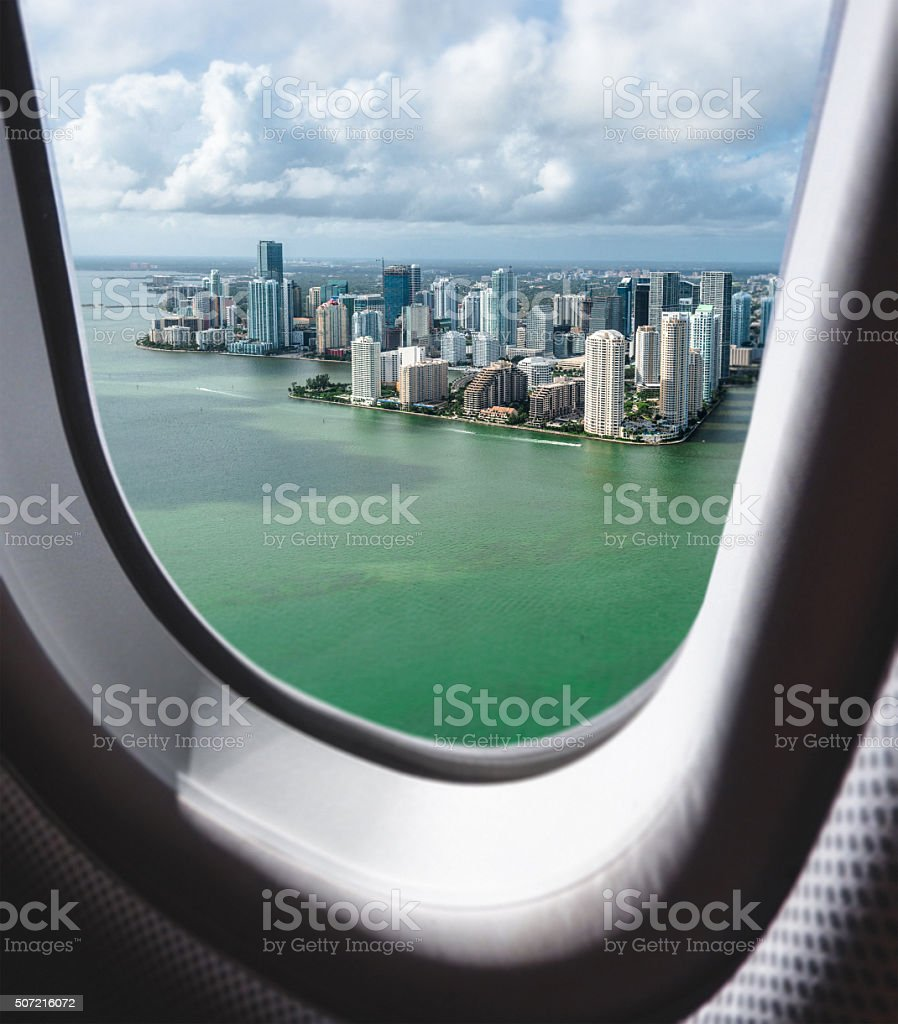 Miami downtown aerial view from the porthole stock photo