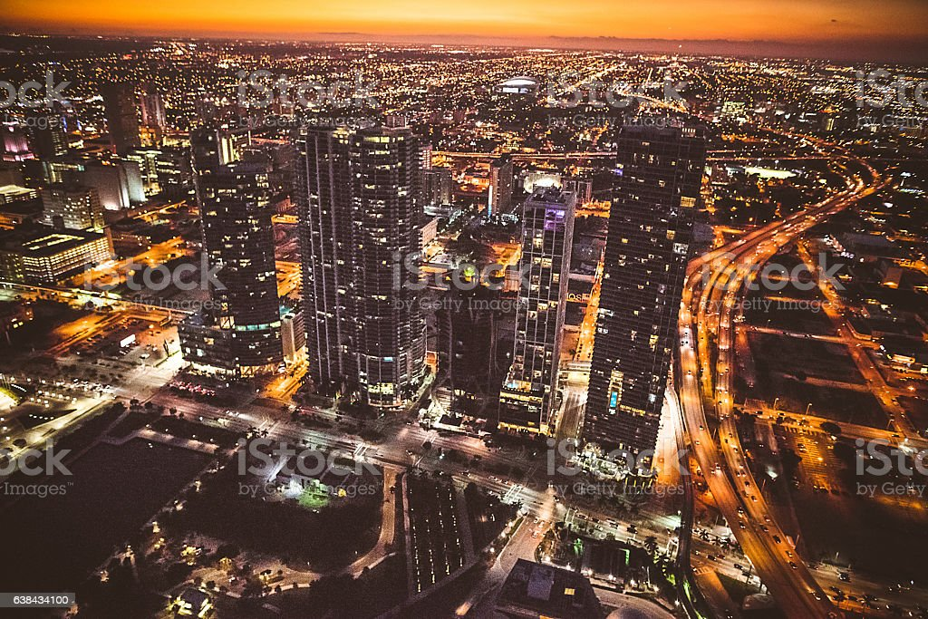 Miami downtown aerial view in the night stock photo