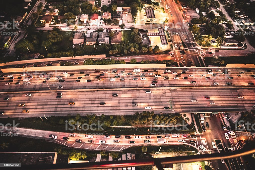 Miami downtown aerial view of the highway in the night stock photo