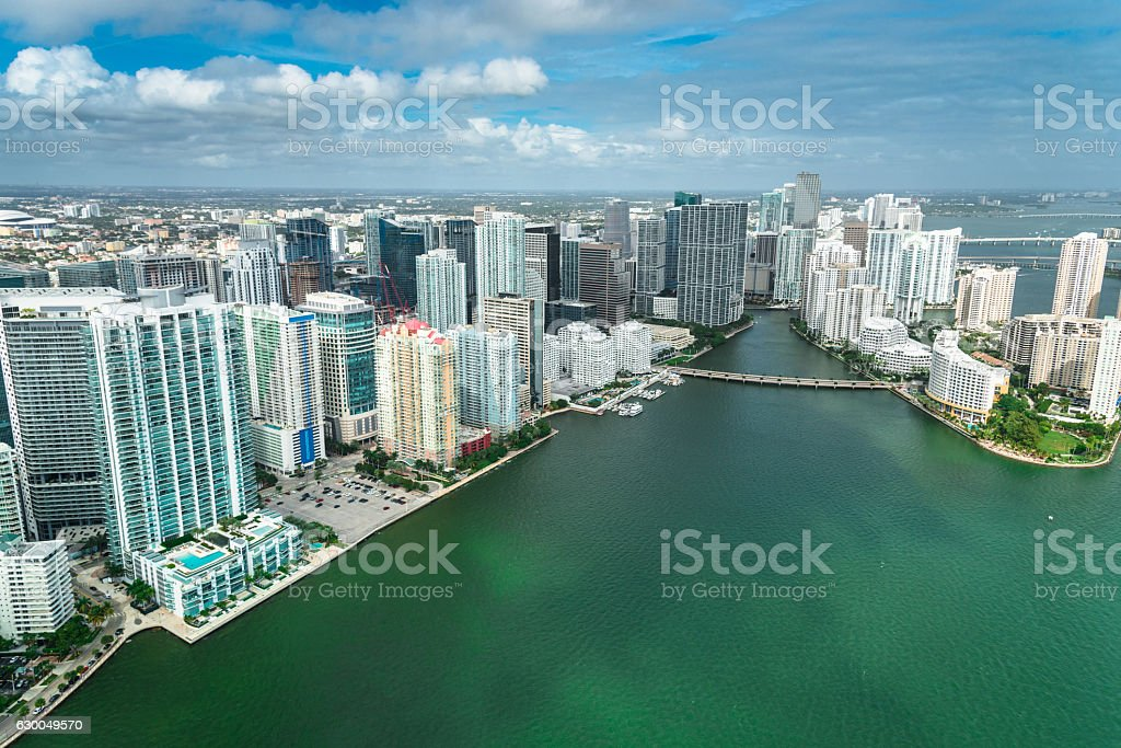 Miami downtown aerial view stock photo