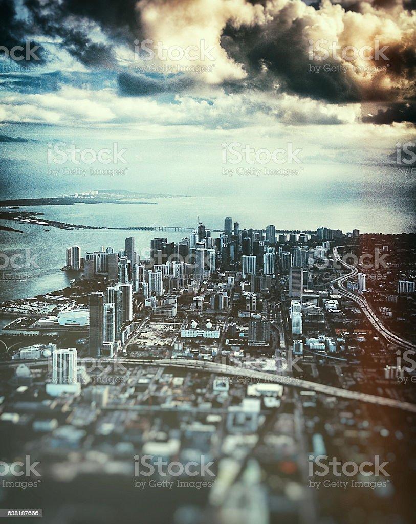 Miami downtown aerial view stock photo
