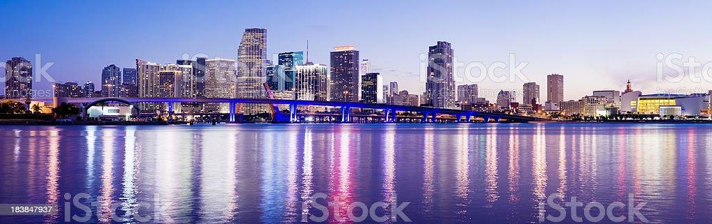 Miami Downtown City Skyline at Night in Florida USA royalty-free stock photo