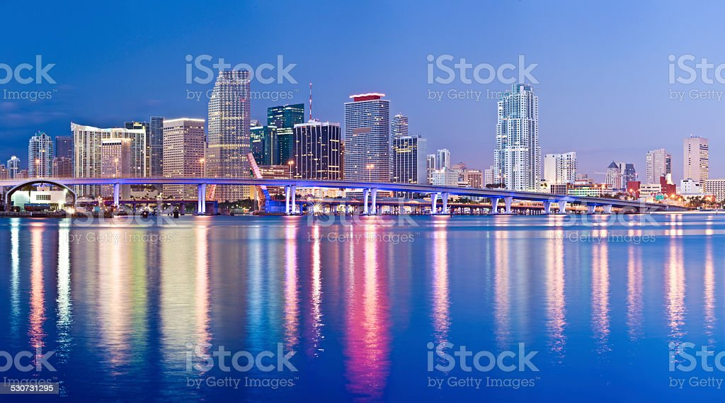 Miami Downtown City Skyline at Night USA stock photo