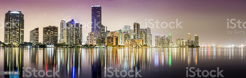 Miami downtown panorama at night royalty-free stock photo