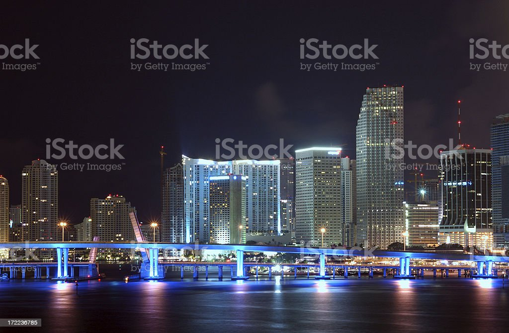 miami downtown skyline detail at night royalty-free stock photo