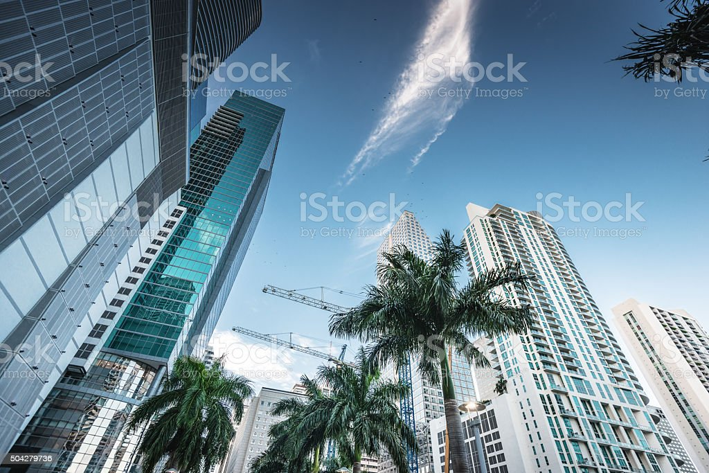 Miami downtown skyscrapers stock photo