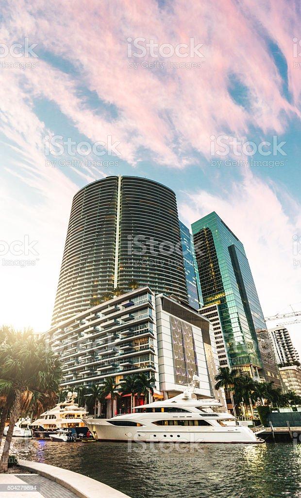 Miami downtown skyscrapers stock photo